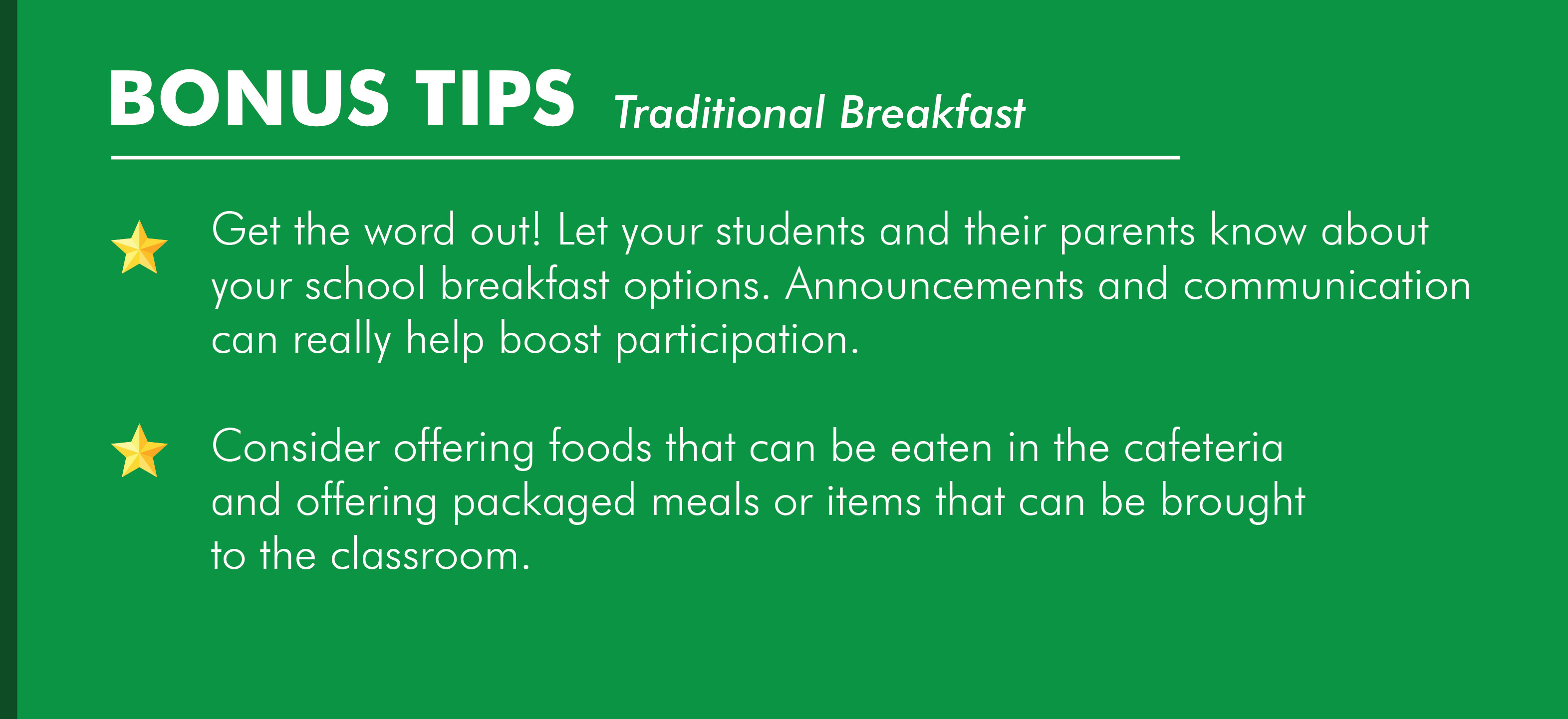 Traditional School Breakfast Service Model