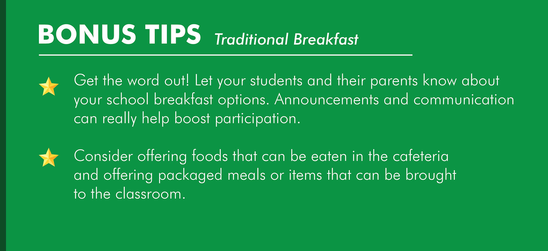 Traditional School Breakfast Service Model