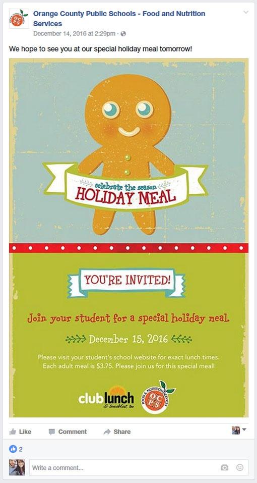 Orange County Public Schools School Nutrition Facebook Page